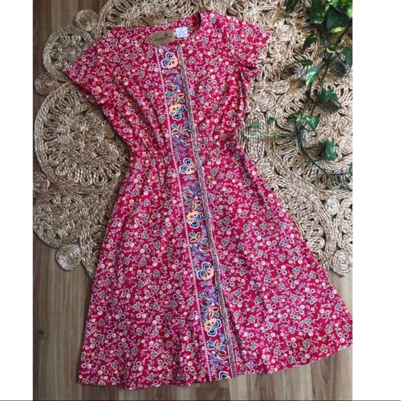 Liz Claiborne Dresses & Skirts - Vintage Liz Claiborne Red Floral Dress Cotton